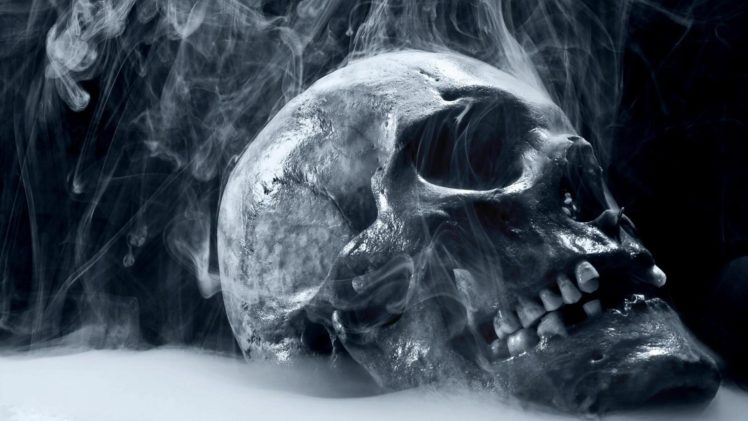 monochrome, Skull, Smoke HD Wallpaper Desktop Background