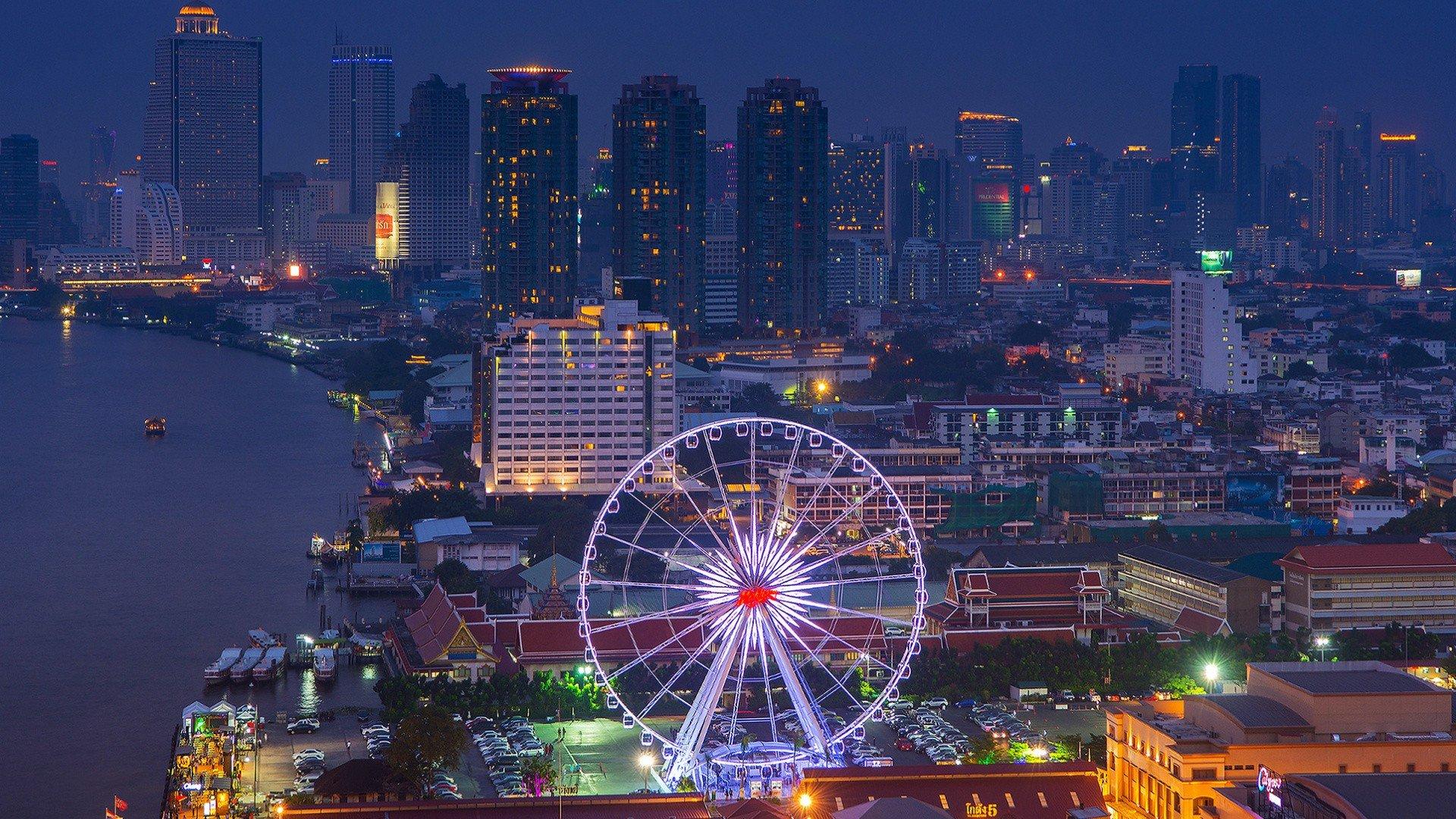 cityscape, Ferris wheel, Thailand, Coast Wallpaper