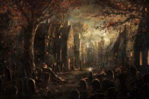 Halloween, Tombstones, Pumpkin, Fall, Leaves, Village