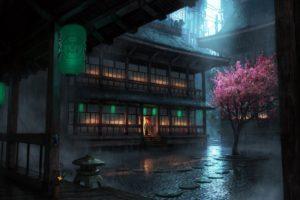 Japan, Rain, Lantern
