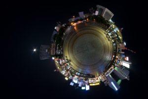 panoramic sphere, Building, Night