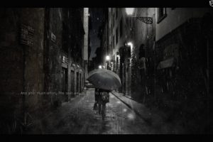 umbrella, Rain, Mist, Street, Alleyway, Adobe Photoshop, Photo manipulation, Emotions
