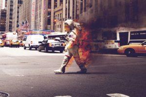 astronaut, Fire, Cityscape