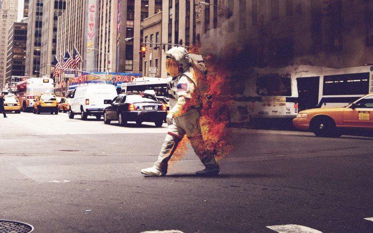 astronaut, Fire, Cityscape HD Wallpaper Desktop Background