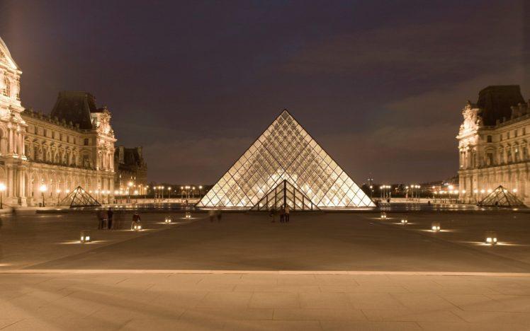 France, The Louvre, Long exposure, Paris, Pyramid, Night, Museum HD Wallpaper Desktop Background
