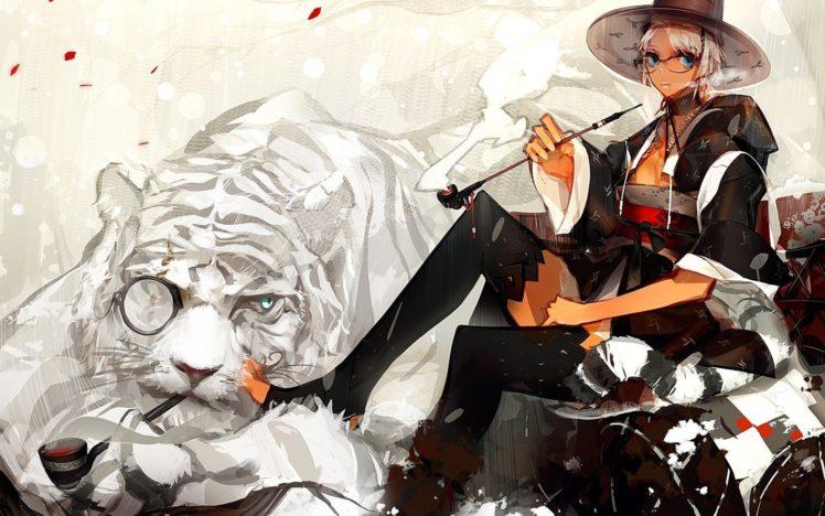 anime girls, Tiger, Thigh highs, Original characters HD Wallpaper Desktop Background