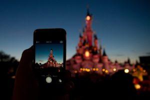 Disney, Castle, Phone, Cellphone, Bokeh