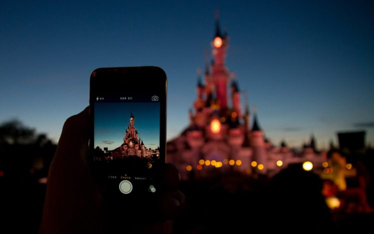 Disney Castle Phone Cellphone Bokeh HD Wallpaper Desktop Background