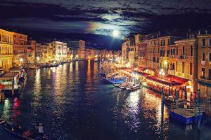canal, Gondolas, Cityscape, Lights, Moon, Venice, Italy