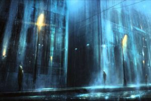 night, Rain, Lantern, Street, Dark, Depressing