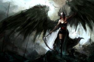 angel, Wings, Scythe, Dark, Spear, Helmet, Reapers