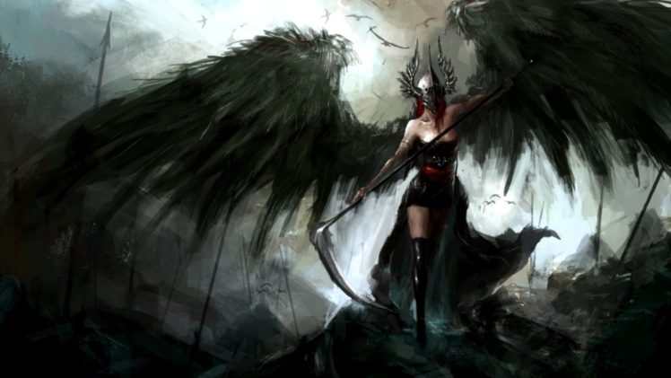 Angel Wings Scythe Dark Spear Helmet Reapers Hd Wallpapers