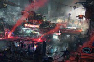 cyberpunk, Remember Me, Futuristic, Red, Environment, Robot, War, Drone, Machine