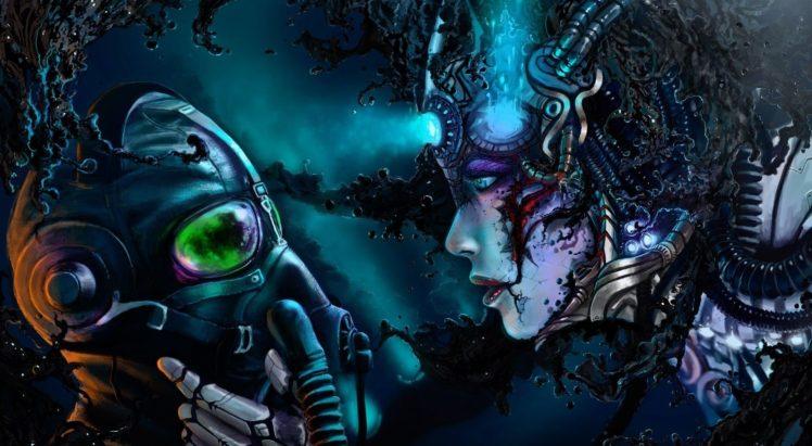 cyberpunk, Gas masks, Robot, Wires, Romantically Apocalyptic, Vitaly S Alexius HD Wallpaper Desktop Background