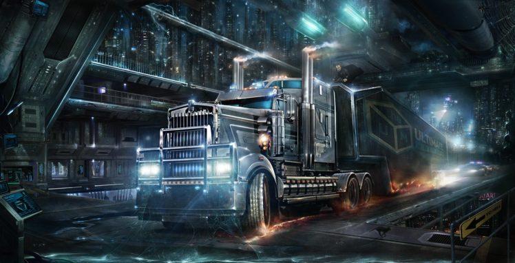 cyberpunk, Trucks HD Wallpaper Desktop Background
