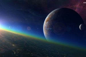 space, Planet, Moon, Galaxy, Stars, CG render