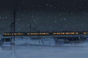 digital art, Anime, Night, Power lines, Train, Snow, Winter, 5 Centimeters Per Second, Utility pole