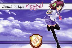 Angel Beats!, Anime girls, Nakamura Yuri, School uniform, Pink hair, Sky, Logo