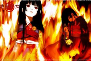 Jigoku Shoujo, Anime girls, Black hair, Kimono, Fire, Logo, Long hair, Flowers