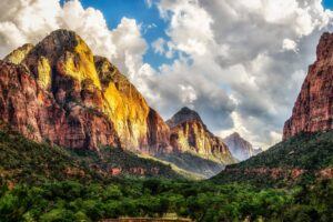 Zion National Park, Utah, Trees, Clouds, Nature