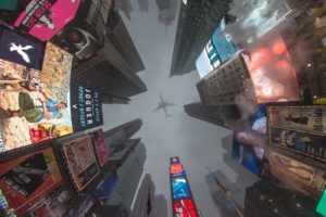 Times Square, Airplane, New York City