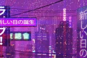 cityscape, Neon text, New Retro Wave