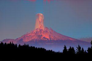 mountains, Pine trees, Glitch art