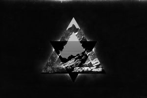 geometry, Triangle, Mountains, Dark