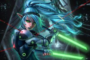 elves, Warrior, Anime girls, Science fiction