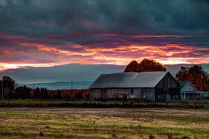 house, Plains, Sunset