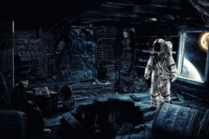 astronaut, Abstract, Science fiction, Space, Galaxy, Universe, Gramophone, Artwork, Skeleton, Space art