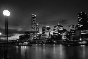town, Lights, Black, White, Water, River, Reflection