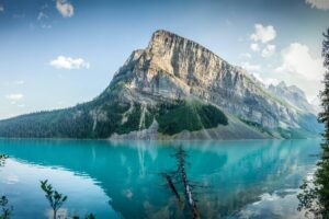 lake, Hills, Mountains, Water, Sky, Trees, Forest, Canada, Lake Louise