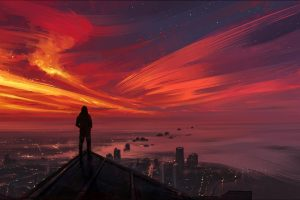 Looking into the distance, Cityscape, Painting, Sunset