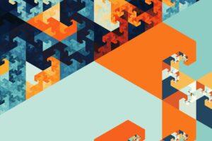 abstract, Fractal, Blue, Orange