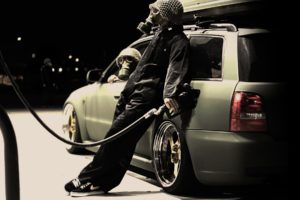 sports car, Gas stations, Mafia, Car, Gas masks