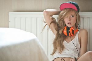 women, Blonde, Headphones
