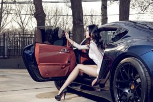 Porsche Cayman, Porsche, Women with cars, Asian, Legs, Brunette, White clothing, High heels