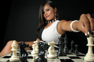 women, Model, Brunette, Long hair, Asian, Black, White, Chess, Board games, Pawns
