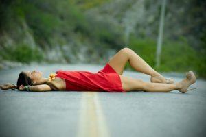women, Lying down, Dress, Brunette, Red dress, Legs