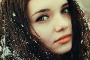 women, Model, Brunette, Long hair, Face, Portrait, Looking at viewer, Red lipstick, Women outdoors, Snow, Winter