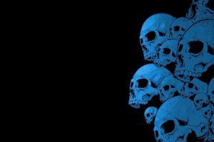 black background, Blue, Skull