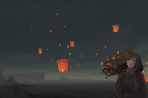 sky lanterns, Windy, Original characters, Night