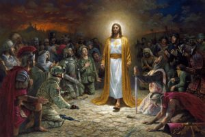 Jesus Christ, Painting, Kneeling, Glowing, Soldier, Warrior, Sword, Jon McNaughton, The Tree of the Knowledge of Good and Evil