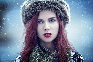 women, Model, Redhead, Red lipstick, Blue eyes, Winter