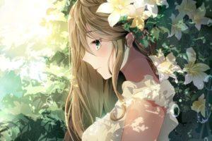 long hair, Brunette, Green eyes, Anime, Anime girls, Flowers