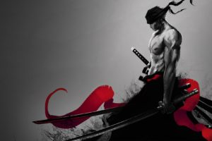Roronoa Zoro, One Piece, Katana, Selective coloring, Fan art