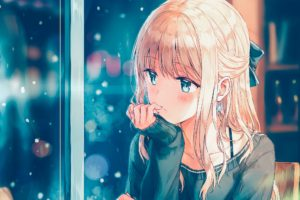 long hair, Blonde, Anime, Anime girls, Sweater, Snow, Aqua eyes, Coffee