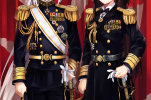 long hair, Brunette, Anime, Anime girls, Kantai Collection, Admiral (KanColle), Uniform, Sword, Weapon, Gray hair, Yellow eyes, Brown eyes
