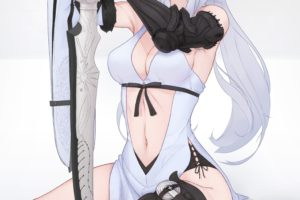 Zero (Drakengard), Navels, Cleavage, Drakengard 3, Weapon, Sword, Knee highs, Flowers